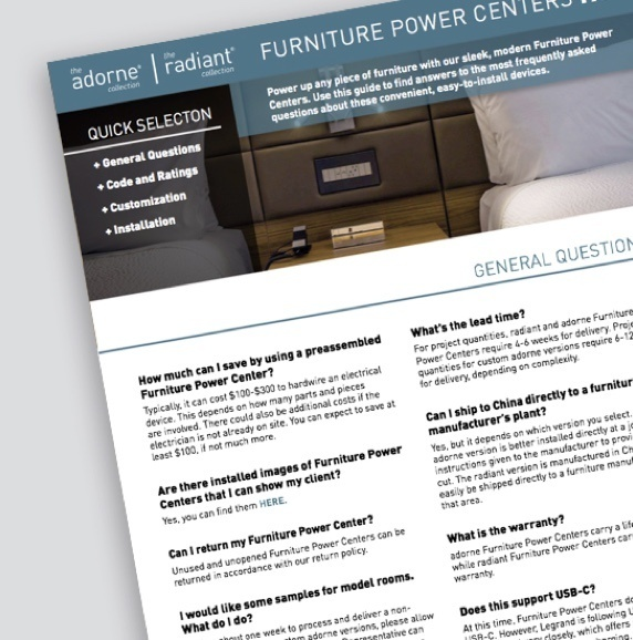 screenshot of radiant hospitality white paper with image of a white outlet built into a brown leather headboard