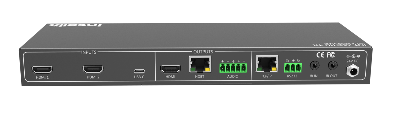 INT-AS2H1U-TX - 3x1 Auto Switch with 2 HDMI & 1 USB-C & HDBaseT Output w/ Display Control
