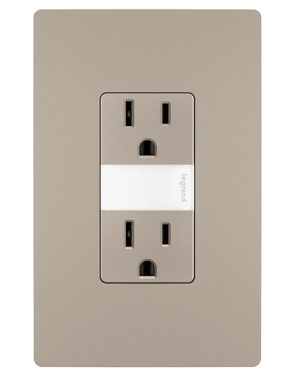 Night Light with Two 15A Tamper-Resistant Outlets, Nickel