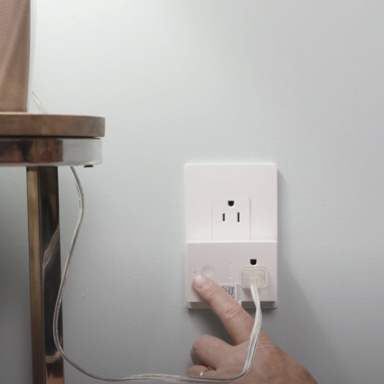 radiant Collection by Legrand plug-in light switch in use