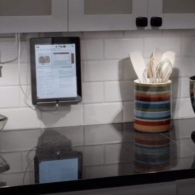 Kitchen counter top with lighting and table cradle under the cabinets