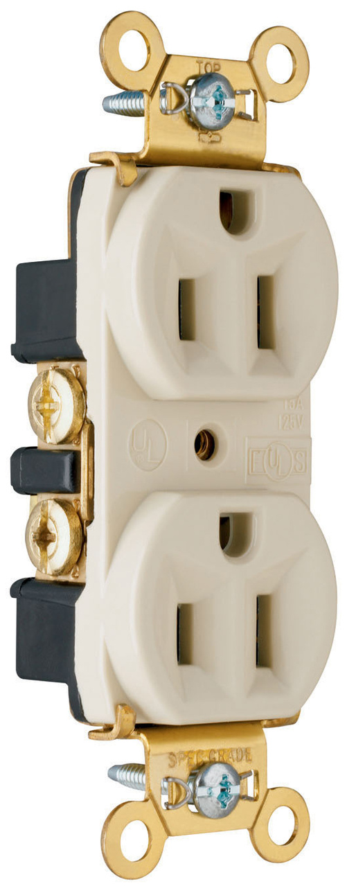 Heavy-Duty Spec Grade Receptacles, Back & Side Wire, 15A, 125V, Light Almond