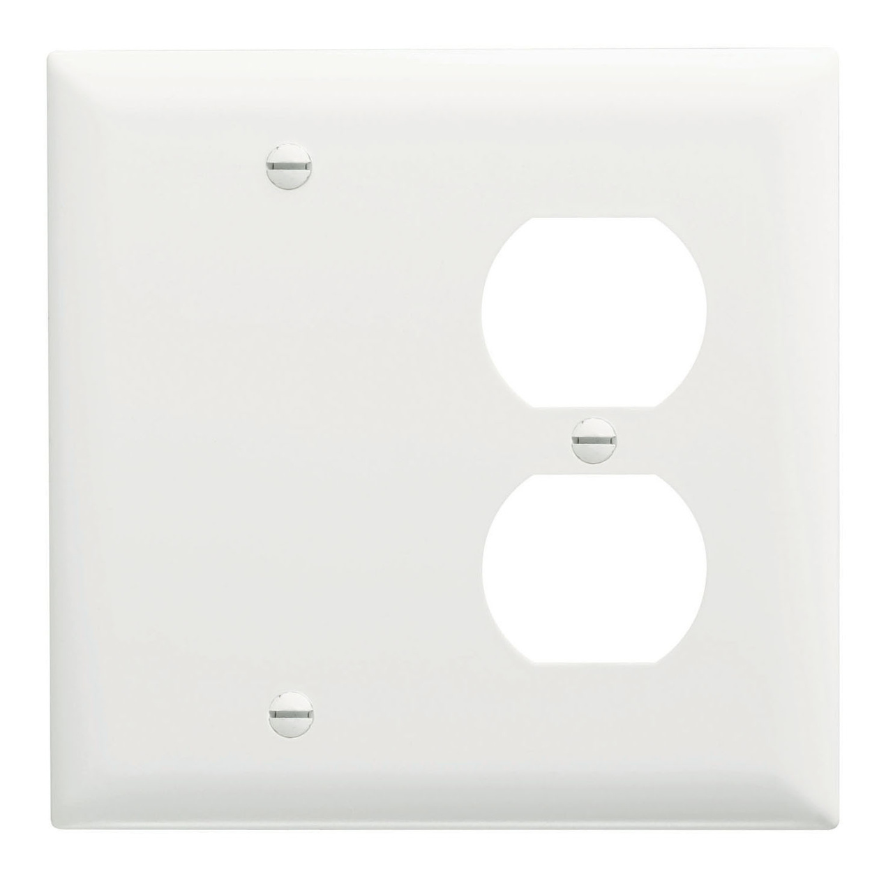 Combination Wall Plate, 1 Blank & 1 Duplex Receptacle, Two Gang, White