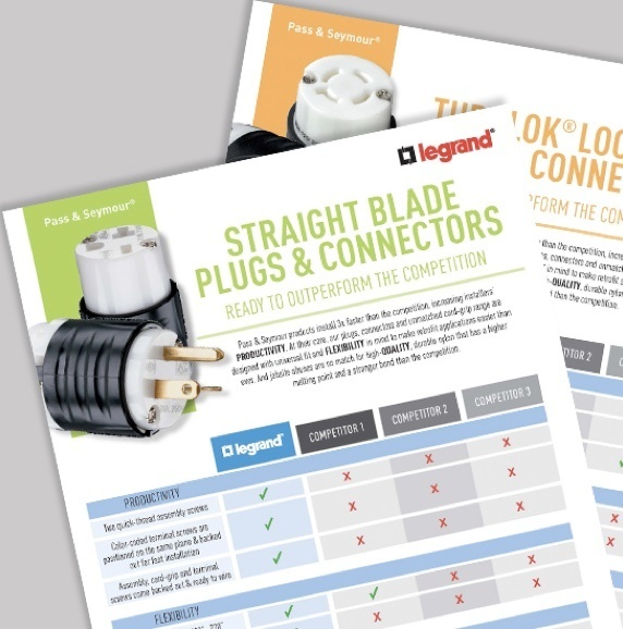 "Pages of documents with visible title ""Straight Blade Plugs & Connectors"""