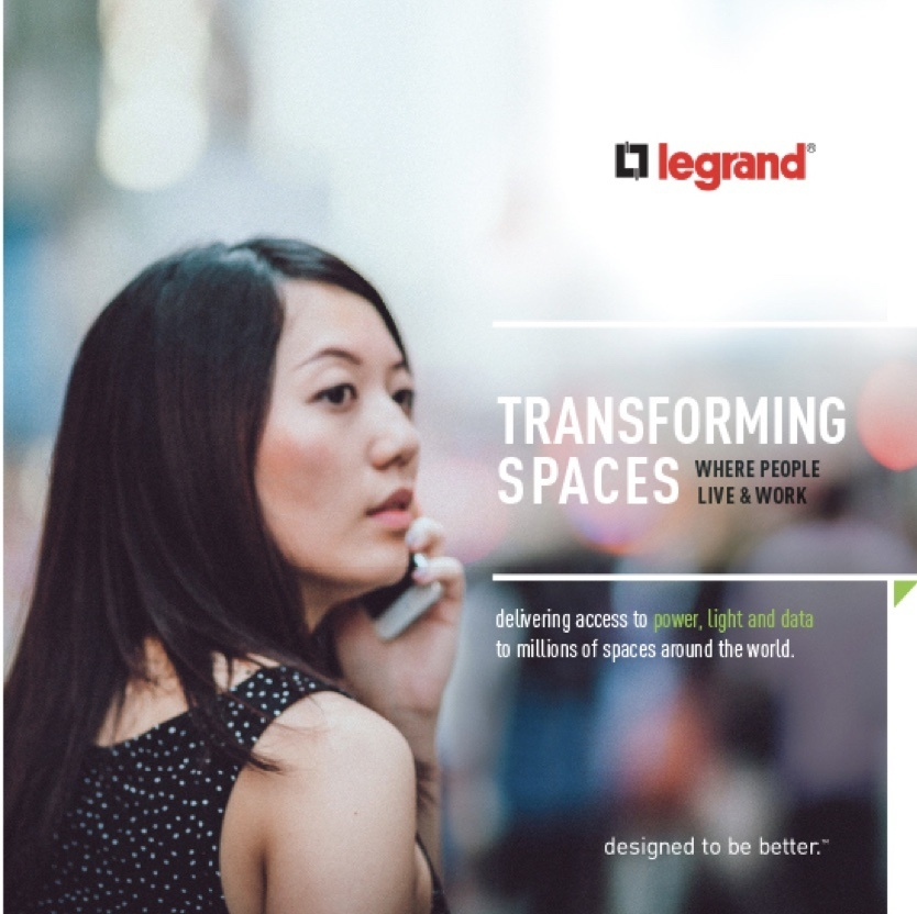 Woman looking to the right with blurry background and overlay of Legrand company text