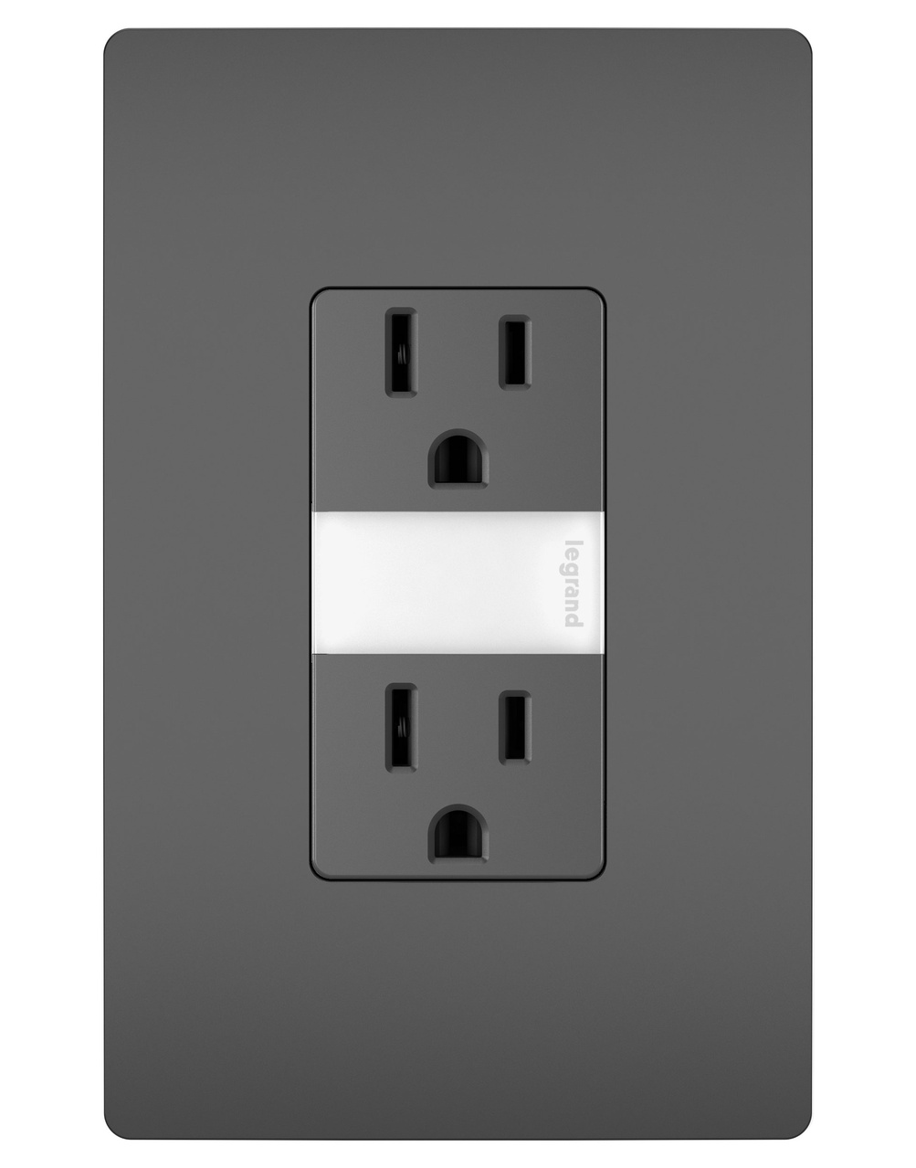 Night Light with Two 15A Tamper-Resistant Outlets, Black