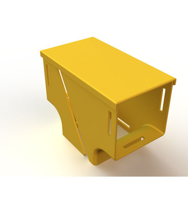"Mighty Mo Fiber Raceway, Vertical Tee retrofit, 4"" x 4"" to 4"" x 4"", yellow - OR-MMFVTR4X4T4-Y"