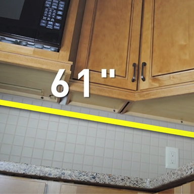 measurement of distance under cabinets equaling 61 inches