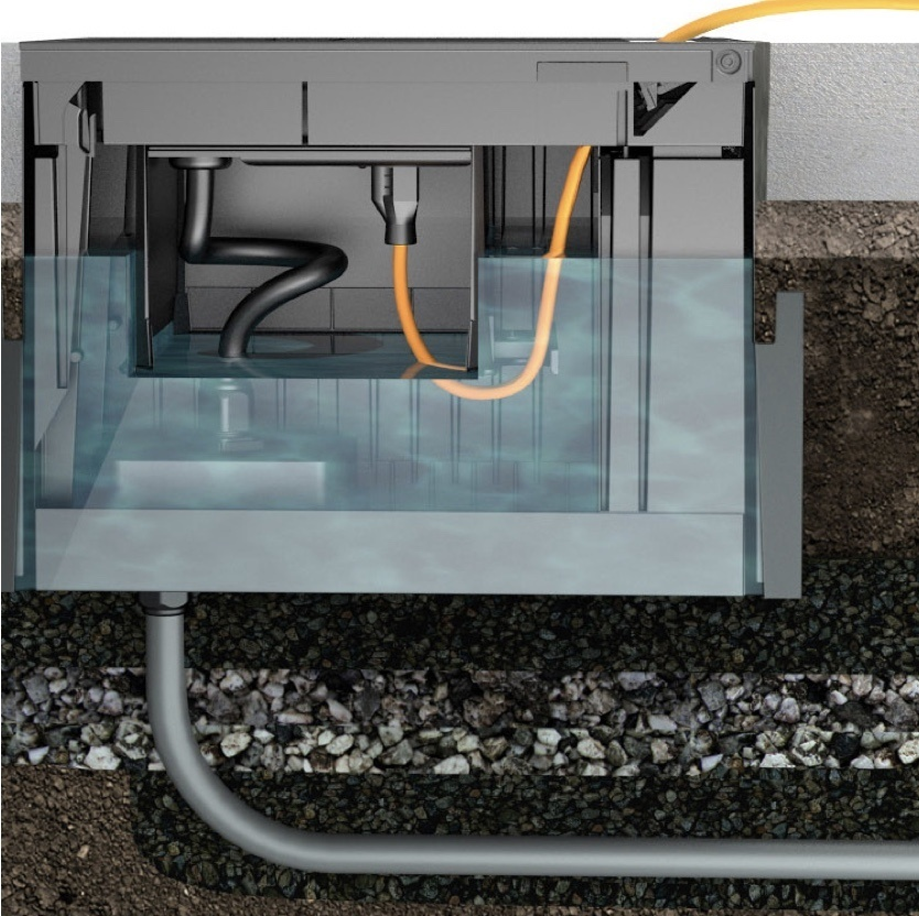 Cross-section rendering of outdoor ground box with electrical connections protected from flooding with diving bell design