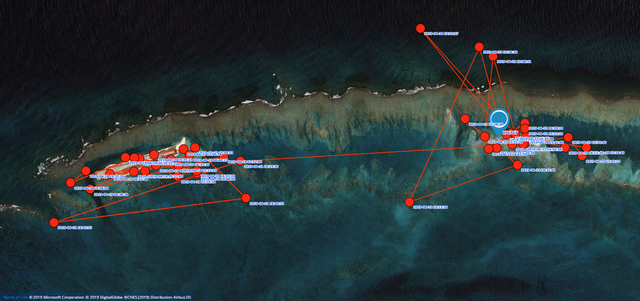 Satellite track of Motherload's activity at Tern Island (left side) and the former location of Trig Island (upper right) at French Frigate Shoals in the Northwestern Hawaiian Islands.