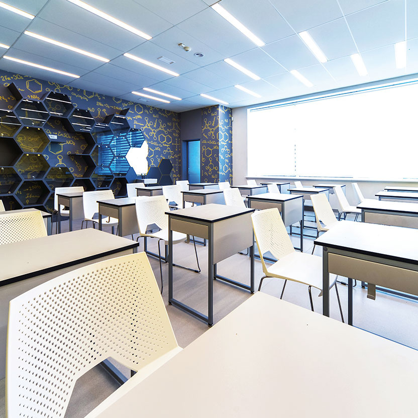 Modern classroom space with contemporary lighting