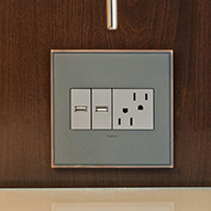 Silver wall plate and white outlets against wood