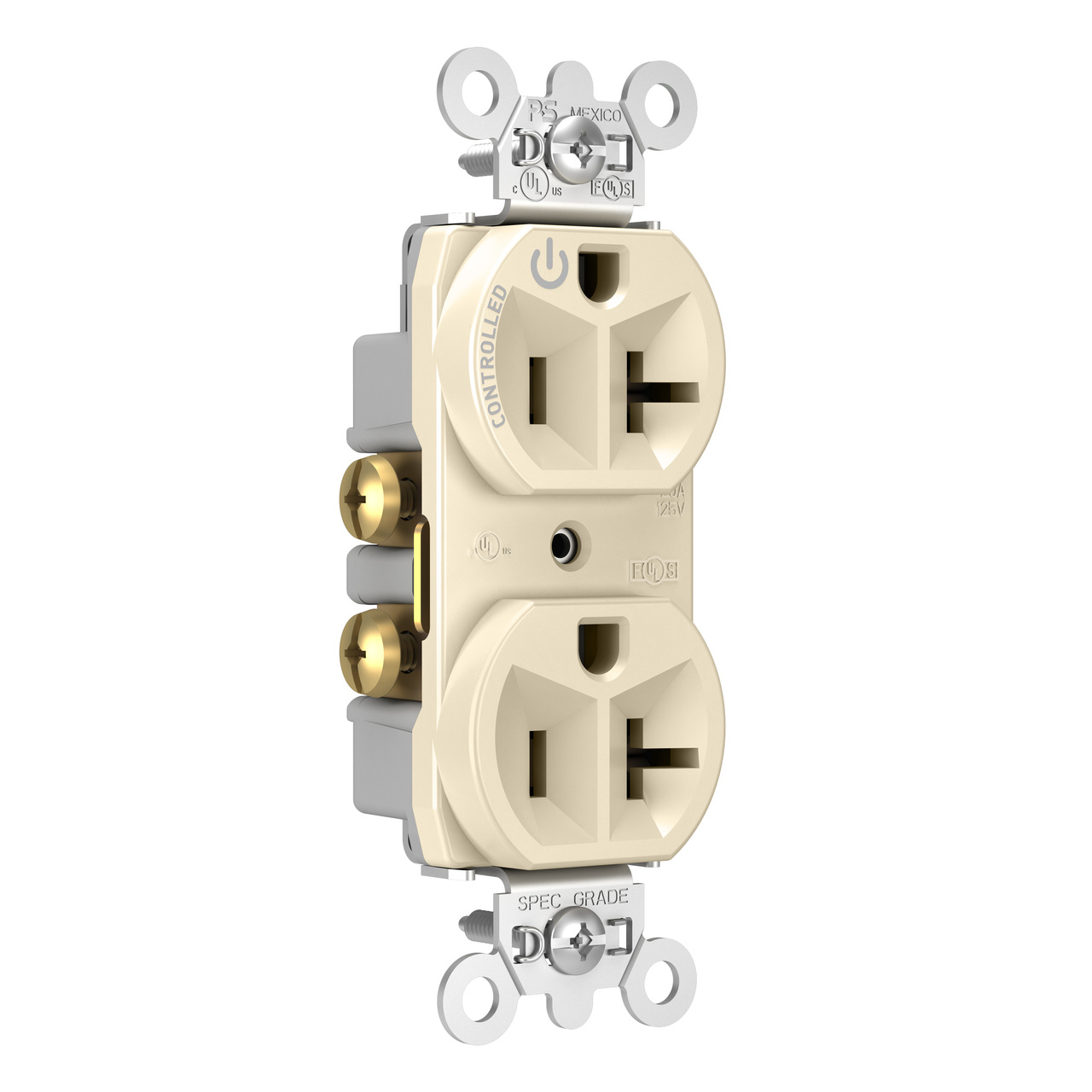 20A, 125V Half-Controlled Plug Load Controllable Receptacle, Light Almond