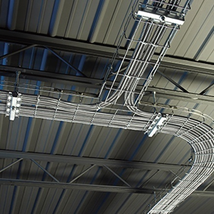 Wire mesh cable tray installed in ceiling