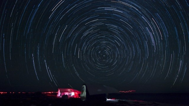 The stars shone a little brighter over East Island, where the only other light came from red headlamps the researchers wore during surveys. Photo: NOAA Fisheries/Jan Willem Staman.