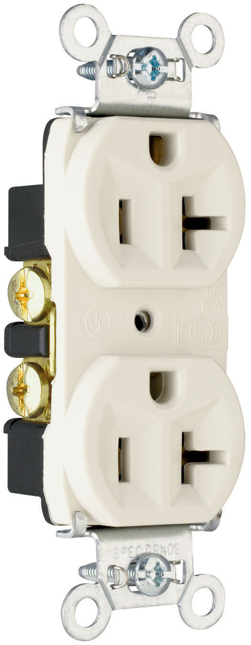 Hard Use Spec Grade Receptacle, Back & Side Wire, 20A, 125V, White