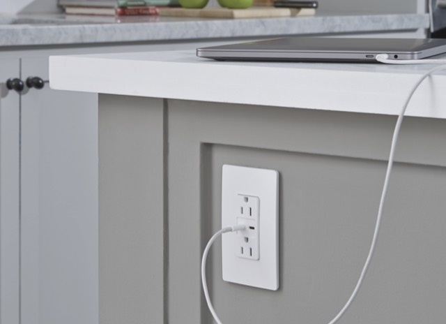 mobile image of radiant USB Charging outlet on side of kitchen counter