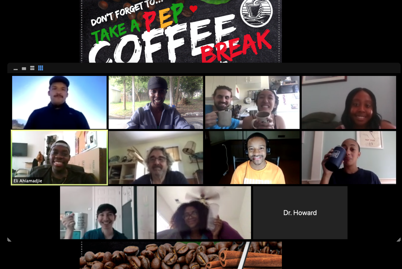 Computer screen shot of a PEP coffee break session