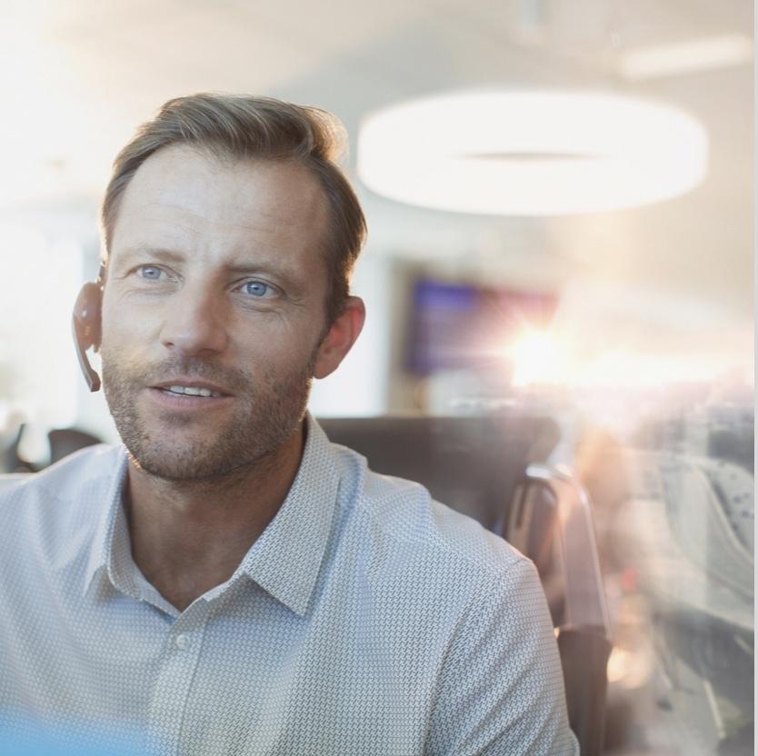 Customer Service employee wearing a headset