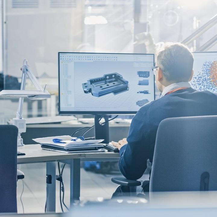 Engineer designing product