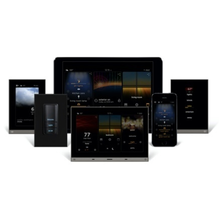 Integrated Shading and Climate Control using InFusion lighting control platform shown on several different devices