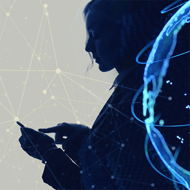 Silhouette of person using smartphone with interconnected graphics overlay