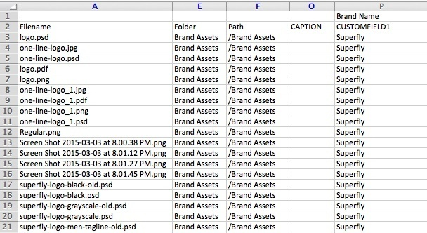 Asset list by brand name