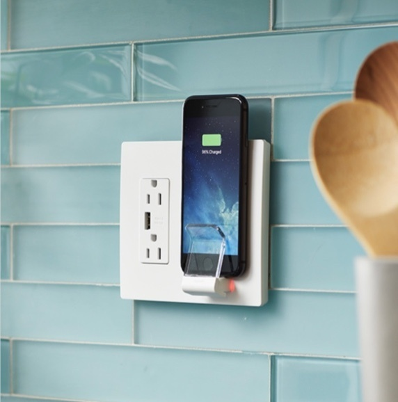 wireless charger on teal tile in kitchen