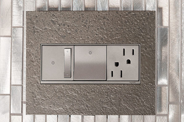 adorne Hubbardon Forge Burnished Steel Wall Plate with dimmer, paddle switch, and tamper resistant outlet