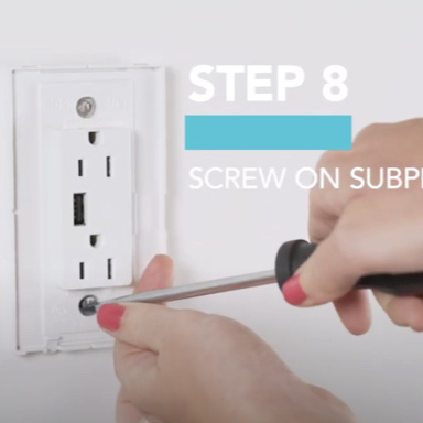 White USB outlet being installed with screwdriver and installation steps
