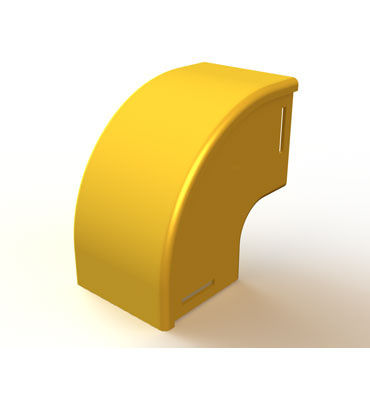 "Mighty Mo Fiber Raceway, Vertical Elbow with cover, 90deg down, 2"" x 2"", yellow - OR-MMFVEC90D2X2-Y"