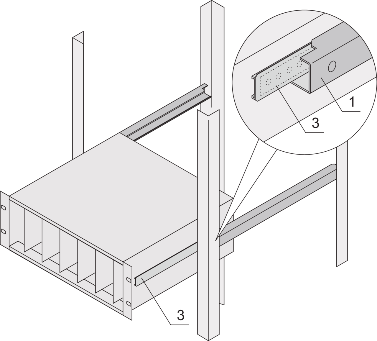 1: Telescopic slide;  2: Adaptor rail