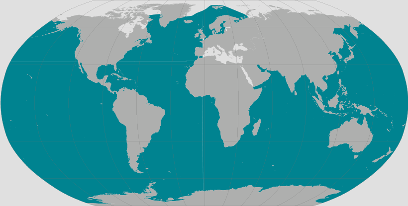 Humpback whale range map.