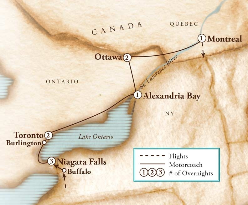 Tour Map for Canadian Cascades: Niagara Falls to Montreal