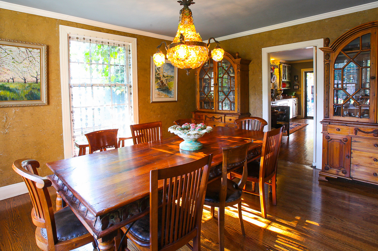 The dining room is where appetizers and wine are served for the Friday night dinner parties.