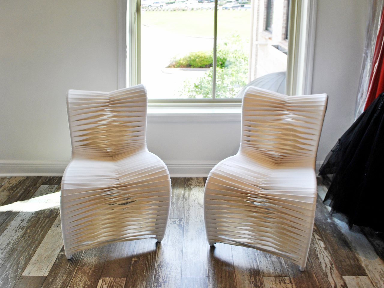 These sleek, modern, feminine chairs from Pandy's shop are perfect for the neighboring boutique, The Clothes Tree by Deborah, which is where they now reside!