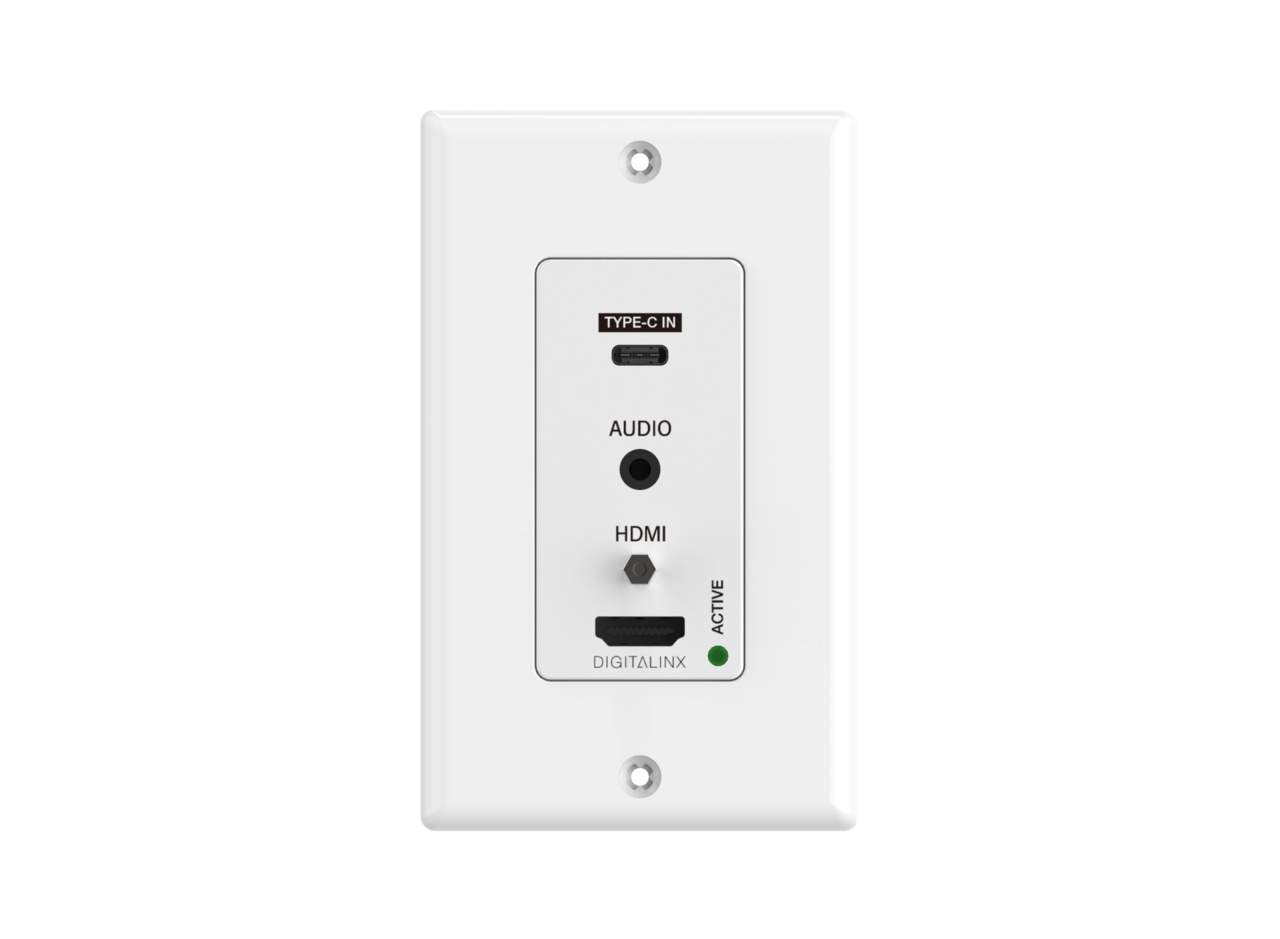 DL-1H1A1UC-WPKT-W - 2 Input wall plate with 1 HDMI, 1 USB-C, & 1 pass-through analog audio over HDBaseT