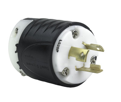 20 Amp NEMA Plug L520 - Black Back, White Front Body