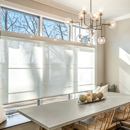 residential shades in dining room