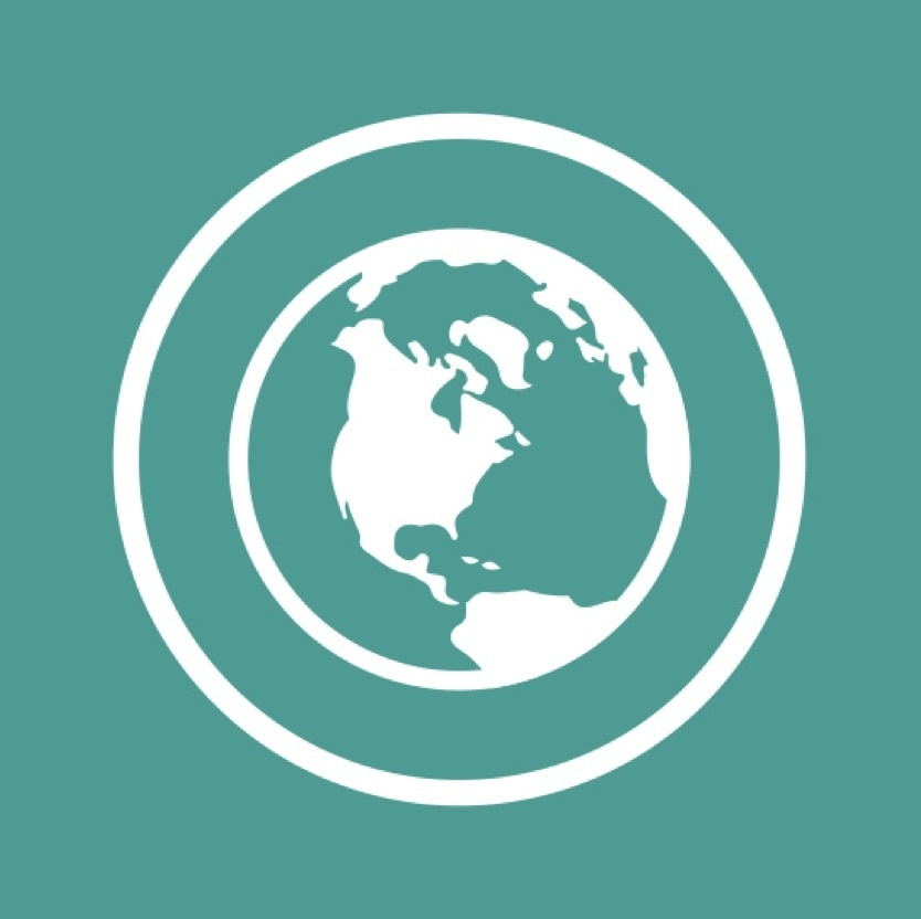 World icon in teal with white outline