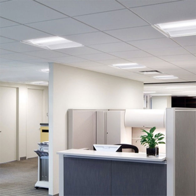 Commercial office space with view of cubicle