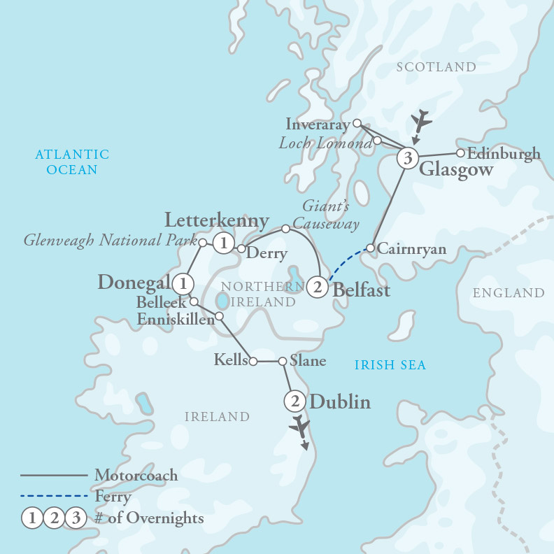 Tour Map for Scotland & Northern Ireland