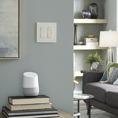 white light switch and dimmer in gray blue living room and google alexa