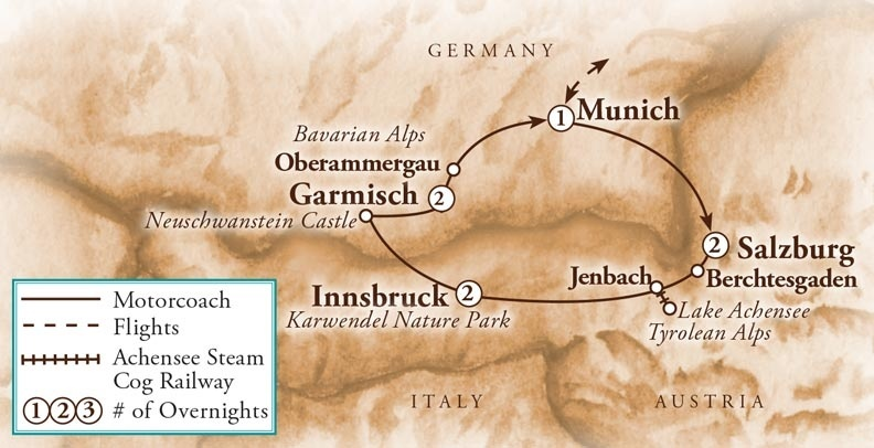 Tour Map for Oberammergau Passion Play & the Highlights of Austria & Bavaria