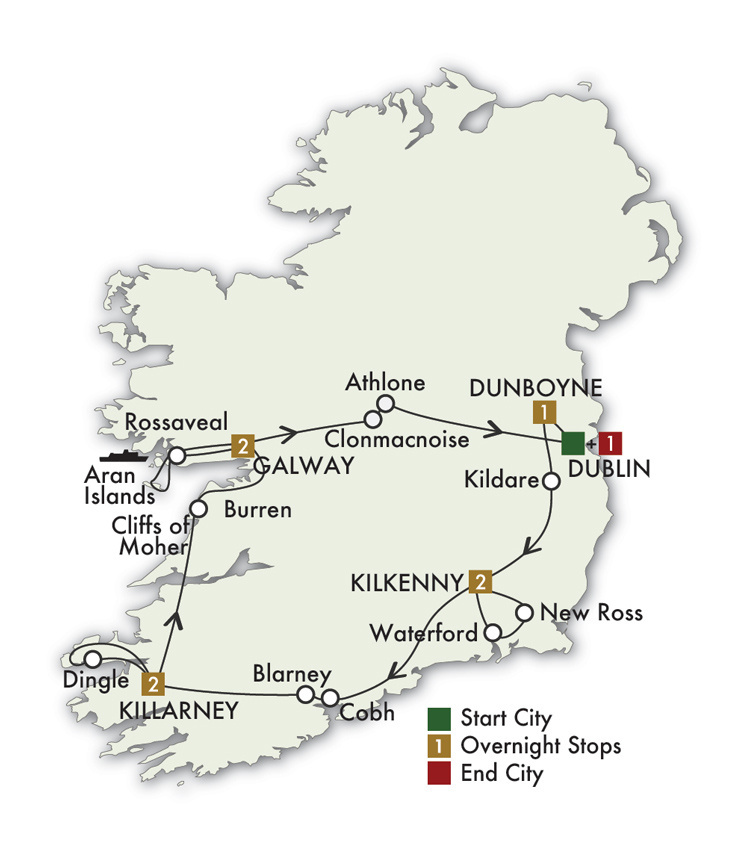 CIE Tours Tour Map  - 2021 - 9 Day Irish Legends