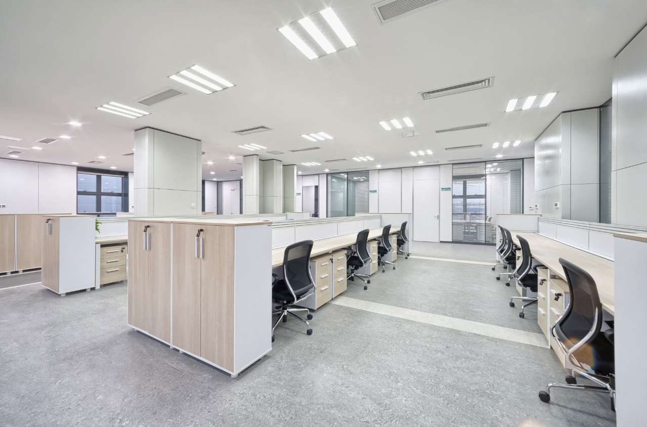 Office space with rows of desks