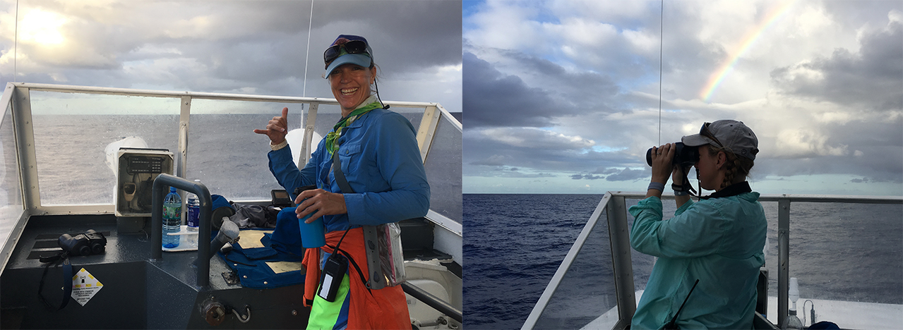 Marie Hill is enthusiastic to begin the humpback whale survey of Guam's offshore reefs (left); Amanda Bradford searches for humpback whales–if only they would have surfaced under the rainbow (right).