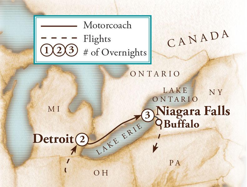 Tour Map for Niagara Falls Adventure