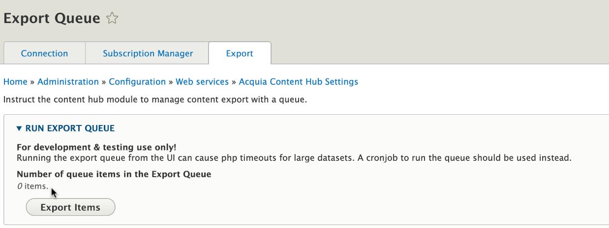 The export queue shows zero items for export.