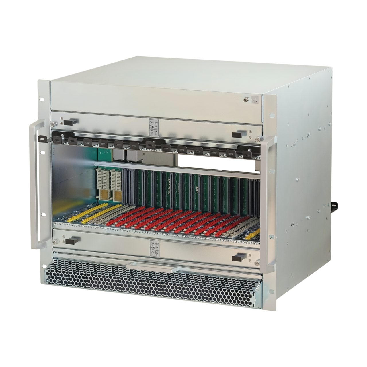 Image for MicroTCA.4 system, 9 U, 84 HP, for 12 double mid-size AMCs, White Rabbit, JSM slot from nVent SCHROFF | Europe, Middle East, Africa and India